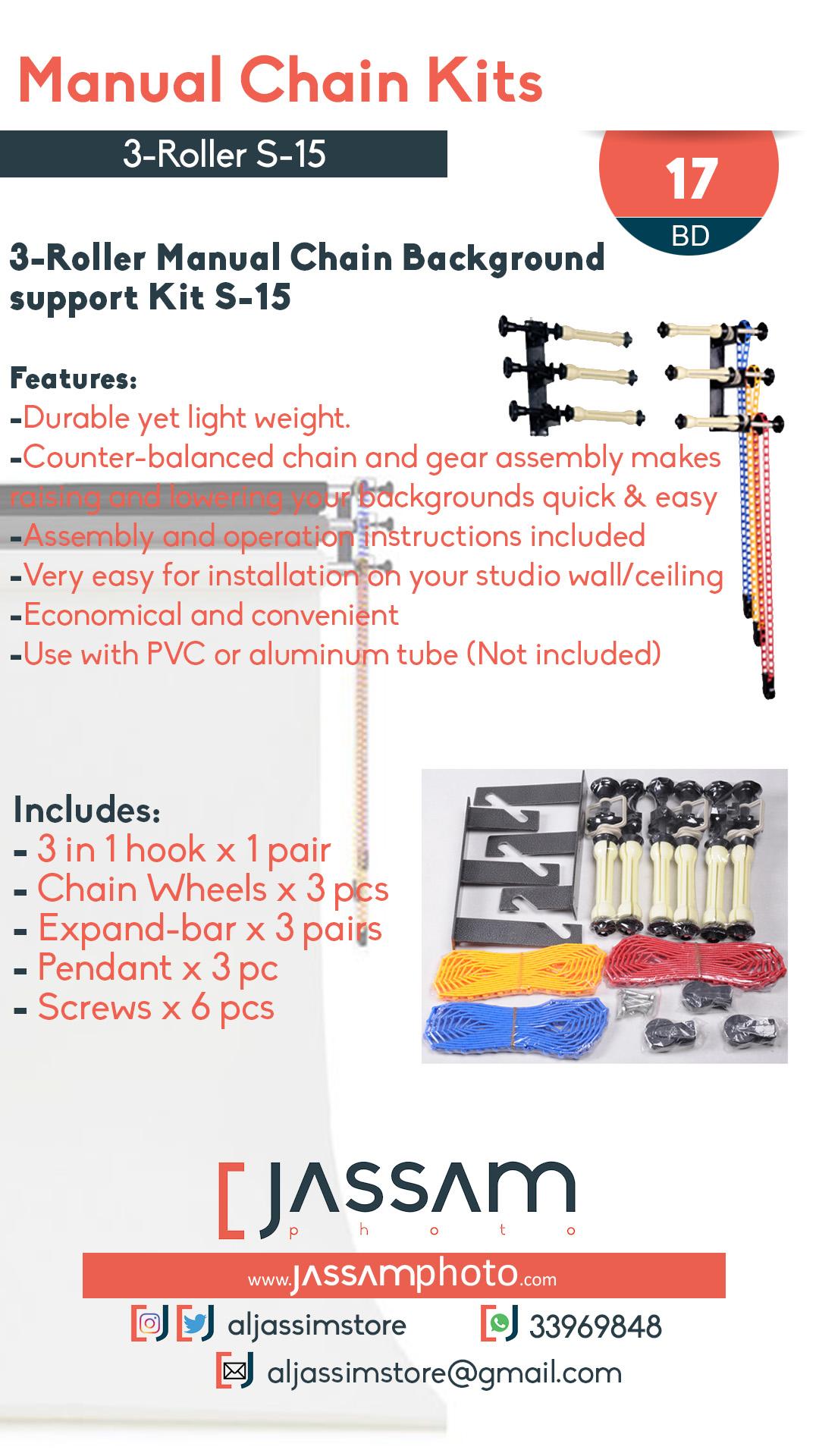 3-Roller Manual Chain Kit S-15