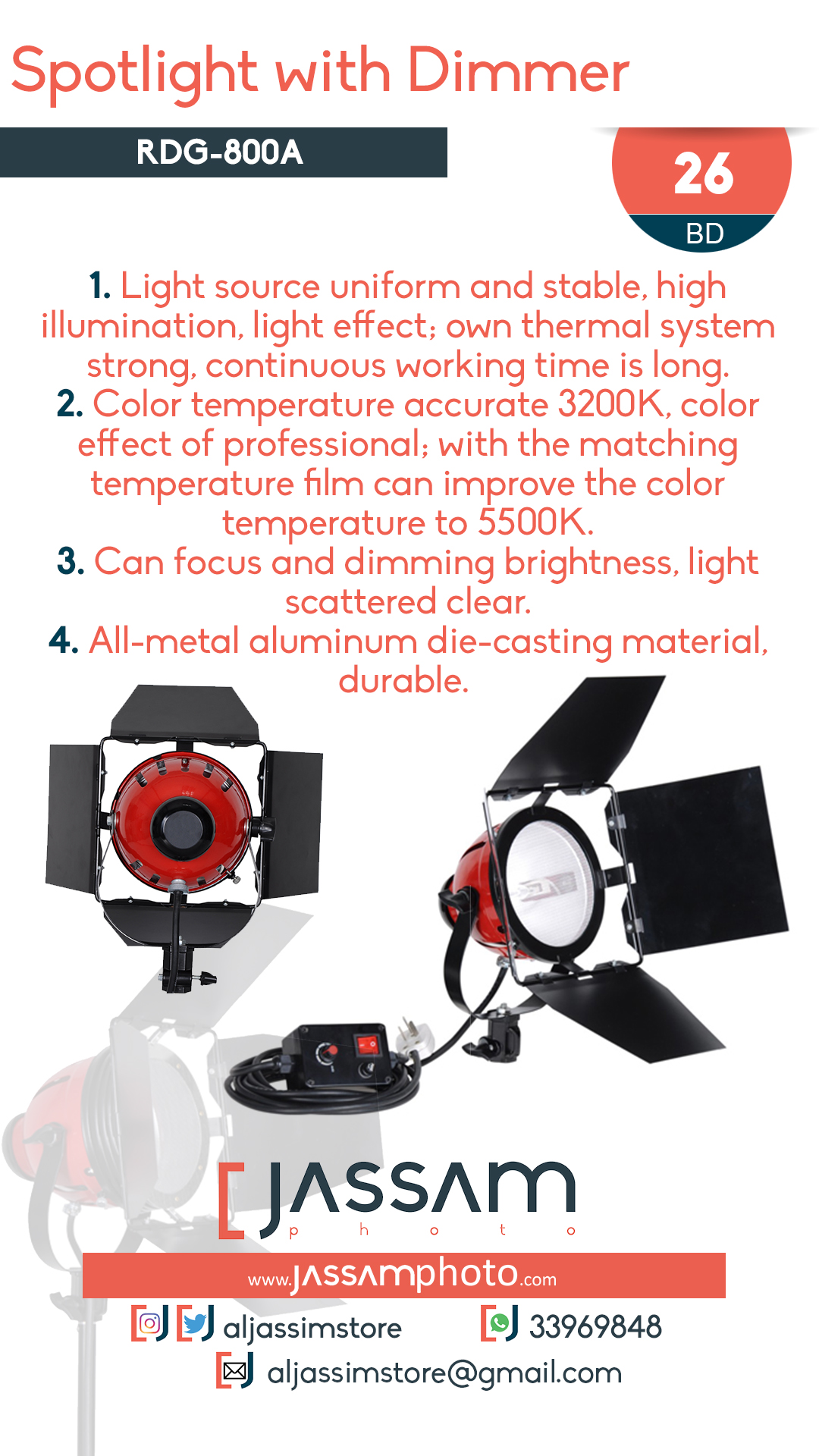 Spotlight with Dimmer RDG-800A